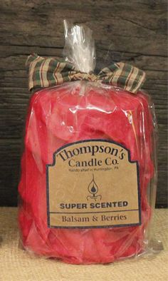 Balsam & Berries Iced Pillar Candle, Super Scented, 80 Hour Burn, Prim Country #Christmas #Candle #Gift #ThompsonsCandles
