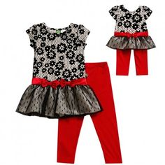 """""""Black and White Floral"""" Drop Waist Legging Set with Matching Outfit for 18 inch Play Doll. Keep her wardrobe bright and cheery with this adorable floral legging set with bright red accents."""