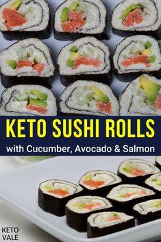 Keto Sushi Rolls with Avocado, Cucumber and Smoked Salmon Low Carb Recipe Canned Salmon Recipes, Smoked Salmon Recipes, Sushi Recipes, Low Carb Recipes, Low Carb Sushi, Smoked Salmon Appetizer, Smoked Salmon Sushi, Keto Salmon, Smoker Cooking
