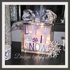 Christmas Let it Snow Light Table Glass Block, GR017