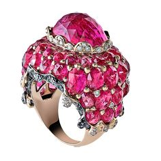 Deluge Lux Ring Droplets of white diamonds accentuate a brilliant cascade of color. Featuring Ruby LG, and black and white diamonds
