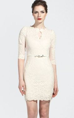 White Half Sleeve Scallop U Neckline Lace Bodycon Dress pictures...I love this dress for my rehearsal dinner and possibly at the very end of my reception.