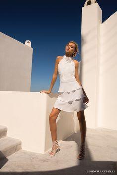 Linea Raffaelli Santorini | Silver grey chiffon dress with multi layers and lace bodice. Strappy heels from the Linea Raffaelli Shoes collection