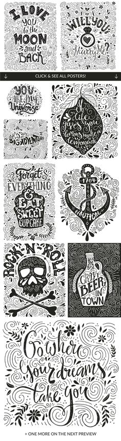 11 Hand Lettering Posters - Vector by Favete Art on Creative Market