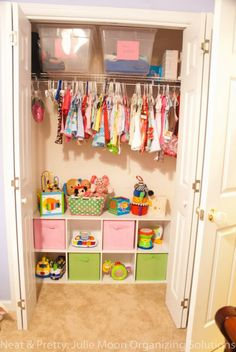 kids closet - I could do this with May's closet with a shelf we already have... would give me something to do with all the clutter that is currently on the floor in there!
