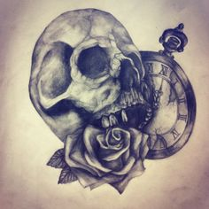 Rose skull pocketwatch tattoo design