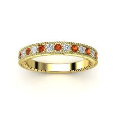 14K Yellow Gold Ring with Diamond & Fire Opal - lay_down