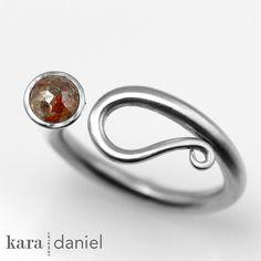 rose-cut diamond ~ in a stainless steel scroll ring by kara | daniel, via Flickr