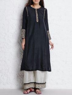 Black Dori & Nakashi Embellished Habutai Silk Kurta