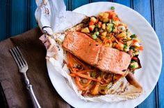 Hard Cider Salmon With Fresh Peach Salsa, Cooked In Fresh Veggie Packets On The Grill
