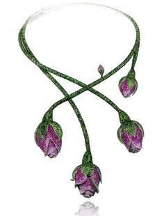 Chopard's Red Carpet Collection ~ The tsavorite, pink sapphire and ruby floral necklace from Chopard's Red Carpet Collection worn by Cate Blanchett at the Cannes Film Festival