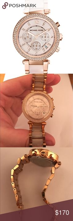 Michael Kors Parker Blush and Rose Gold watch 39mm Michael Kors Women's Chronograph Parker Blush and Rose Gold-Tone Stainless Steel Bracelet Watch 39mm MK5896 - Two-Tone, good condition, used, originally $298. Comes with an extra link. 100% authentic Michael Kors Jewelry Bracelets