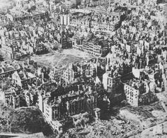 Aerial view of Warsaw, Poland, showing devastation from war and recent uprising, Jan 1945