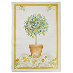 "Lemon Linen Kitchen Towel, 28"" x 20"" 
