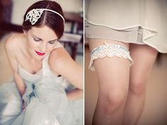 Beautiful vintage-inspired bridal headpieces and accessories such as this pretty garter by Silver Sixpence in her Shoe