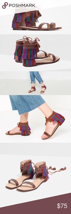 Zara Fringe Sandals Did someone say fringe?! Leather contrasting fringe with leather lace up closure with Pom poms! 6.5 USA and 37 euro Zara Shoes Sandals