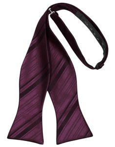 Berry Striped Satin Self-Tie Formal Bow Tie