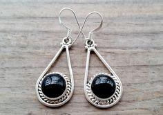 Black Onyx Earrings   Sterling Silver by HimalayanTreasure on Etsy