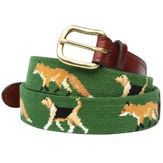 Fox and Hound Needlepoint Belt by Onward Reserve