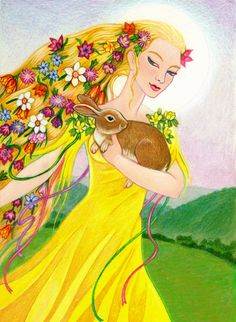 Ostara is just around the corner.Eostre Goddess is ripening and getting ready to emerge on this Spring Equinox as the Maiden, once more. Learn about the Goddess of Spring and honor her this Ostara. Triple Goddess, Moon Goddess, Earth Goddess, Vernal Equinox, Modern Witch, Sabbats, Beltane, Mellow Yellow, Gods And Goddesses