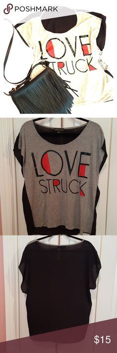 Love Stuck Shirt Love struck shirt with see through black back and solid gray front with Love Struck written on it. Dress up or down. In good used condition. Forever 21 Tops