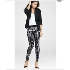 BNWT sexy express sequin pants!  With a tuxedo jacket and lightweight cami, these sequin-covered leggings would kill it at a party. Or take them for a night out dancing with your girls; just add a sexy top and the hottest heels you've got!  Slip-on style legging Elastic banded black waist All-over sequin embellishment Cotton/Spandex Hand wash Imported Express Pants Leggings