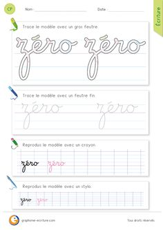exercice-fiche-graphisme-écriture-cp-ce1-écrire-le-mot-zero-minuscule-cursive French Handwriting, French Language Lessons, Worksheets, Activities For Kids, Bullet Journal, Learning, Cycle 3, Multiplication, Wagon