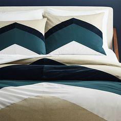 Пиковые постельное белье шеврон | CB2
