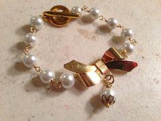 Pearl Bracelet  Gold Jewelry  White Jewellery  Fashion  by cdjali, $21.00