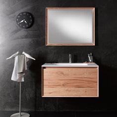 45° wall-mount vanity with natural oak frame and vintage oak front with coordinating LED mirror #furniture #design #vintage #interior #interiordesign #home #bathroom #decor