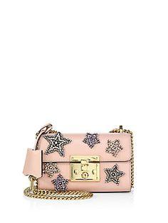 Gucci Padlock Star-Embroidered Leather Chain Shoulder Bag - Pink - Siz