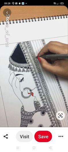 Indian Bridal Outfits, Madhubani Painting, Blanket Stitch, Watercolor Art, Mandala, Illustration, Cards, Sketch, Space