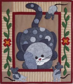 Spotty Cat Wall Quilt Kit - Easy for Beginners - Applique Quilt Kits at Weekend Kits