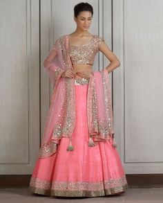 Pink #Lehenga Set With Mirror Work.