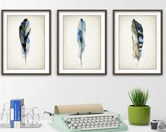 Blue Watercolor Feathers Print Blue Room Decor by QuantumPrints