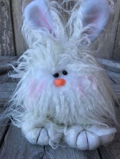 "This cute Small Fuzzy Bunny is 8"" tall and 7"" wide. What a pudgy little guy. Easter Bunny Decorations, Easter Wreaths, Spring Decorations, Easter Centerpiece, Easter Decor, Craft Stick Crafts, Diy Crafts, Easter Crafts For Kids, Easter Stuff"