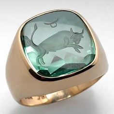 Mens Carved Spinel Taurus Zodiac Ring 14K Gold