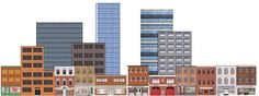 Deluxe HO Scale Background Kit with Storefronts Industrial and High-rises (Set A)