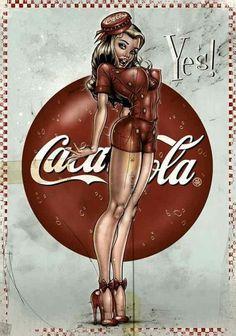 Modern Pinup prints- Cotton Sheet- Quilt Block-Applique -Vintage Coca Cola-Coca Cola Symbols-Sexy Pin-up Coca Cola Girl Coke Yes. Vintage Advertisements, Vintage Ads, Vintage Posters, Vintage Signs, Dibujos Pin Up, Coca Cola Ad, Pepsi, Coke Ad, Mode Man