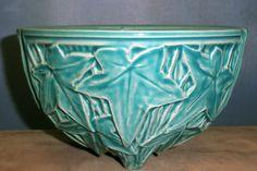 """Vintage 1950 McCoy Pottery Hanging Planter Aqua Ivy Leaf Pattern 6"""""""