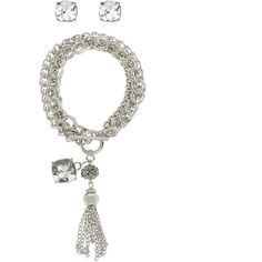 Worthington Tassel Silver-Tone 3-Row Chain Bracelet and Stud Earring... ($9.59) ❤ liked on Polyvore featuring jewelry, earrings, earring jewelry, long chain earrings, tassel jewelry, long tassel earrings and rocker jewelry