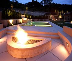 Outdoor firepit, pool, hot tub, and patio design