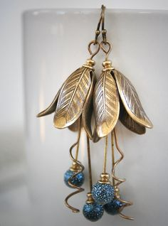 MIDNIGHT TULIPS romantic Victorian art nouveau style tulip earrings, free gift boxing. $26.00, via Etsy.