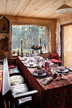 ⋴⍕ Boho Decor Bliss ⍕⋼ bright gypsy color & hippie bohemian mixed pattern home decorating ideas - dining room