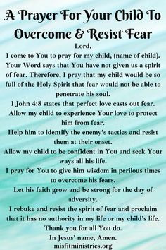 A Prayer For Your Child To Overcome And Resist Fear