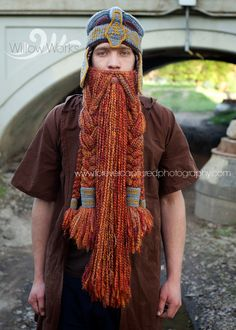 GImli Inspired Helmet and Beard - LOTR, Lord of the Rings.  Crochet Pattern.