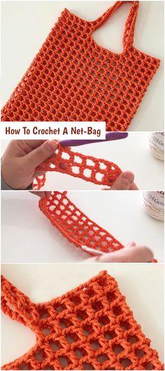 How To Crochet A Net-Bag - Crochetopedia - Linda loves. DIY & Deko - How To Crochet A Net-Bag - Crochetopedia How To Crochet A Net-Bag - Crochetopedia - Bag Crochet, Crochet Market Bag, Crochet Handbags, Crochet Purses, Filet Crochet, Crochet Stitches, Crochet Patterns, Diy Hair Accessories, Crochet Accessories