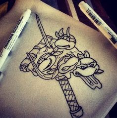 Awesome Ninja Turtles tattoo design by Joshua Heckert at Tymeless Tattoo and Piercing
