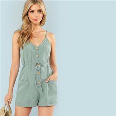 a42fdacfec21 SHEIN Green Plain Sexy Spaghetti Strap V Neck Sleeveless Button Pocket Mid  Waist Cami Romper Summer Women Casual Playsuits