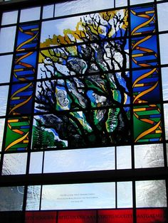 Description: Hinxton, England: Sanger Institute (Wellcome Trust Genome Campus): Sulston Laboratories, stained glass window (1997, designed by Kathy Shaw, made by Derix Studios)